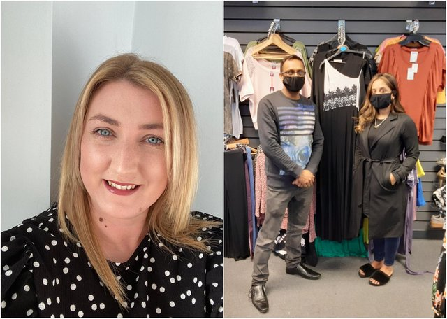 South Shields hairdresser Sinead Clayton (left), and Kaz Choudhury pictured in King Street's Outlet Clothing