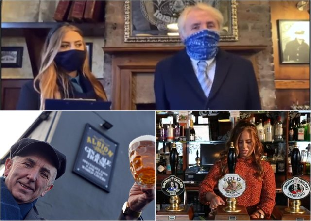 Jess McConnell, who runs the Jarrow Albion Gin and Ale House, starring as a mock news presenter in the film (above); Mr McConnell outside the premises (below, left); the pub's manageress, Charlotte Wilkinson (below, right)