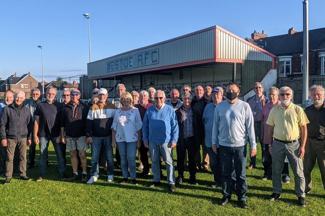 The Compass Acapella group at Westoe RFC's ground.