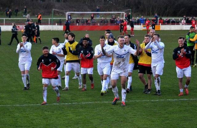 Consett players celebrate quarter-final win at Atherstone. CREDIT GARY WELFORD CONSETT AFC.