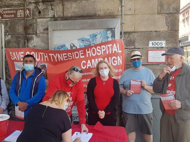 South Shields MP Emma-Lewell Buck MP with hospital campaigners on King Street, South Shields, last month.