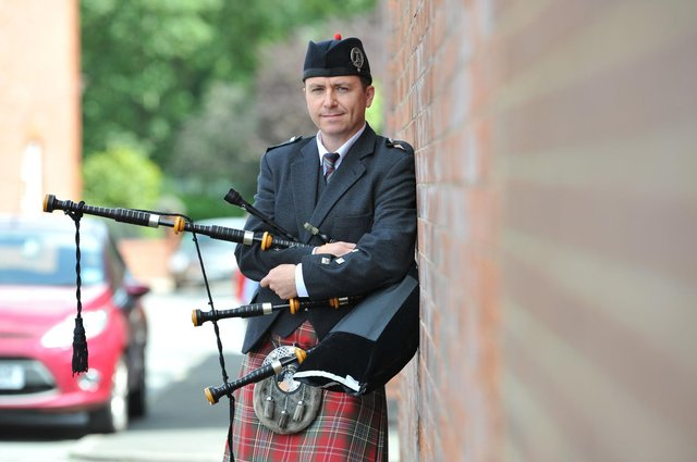 Bagpiper Alan Jamieson has now moved from Roker, without ever finding out who sent him abusive letters. JPI image.