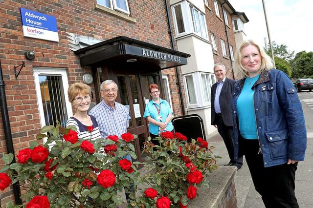 Residents Lorna and Warren; Karbon's scheme coordinator Liz Smith; Paul Fiddaman and Emma Lewell-Buck