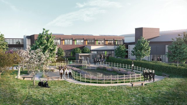 A computer-generated image of how the new extension of St Wilfrid's RC College in South Shields will look