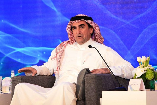 """Yasir al-Rumayyan, chairman of Saudi Aramco, speaks during a press conference in the eastern Saudi Arabian region of Dhahran on November 3, 2019. - Saudi Aramco confirmed it planned to list on the Riyadh stock exchange, describing it as a """"significant milestone"""" in the history of the energy giant. (Photo by - / AFP) (Photo by -/AFP via Getty Images)"""