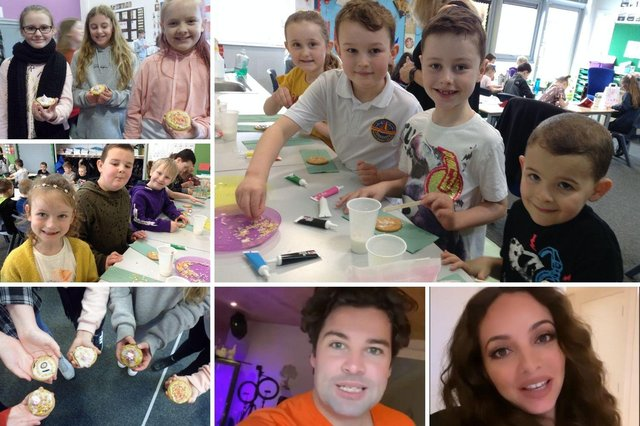 Children and staff partied at Harton Primary School to celebrate the tenth birthday of their new building, with some famous faces helping mark the occasion.