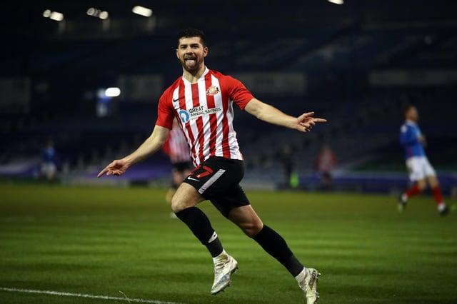 Jordan Jones of Sunderland celebrates scoring their second goal during the Sky Bet League One match between Portsmouth and Sunderland at Fratton Park