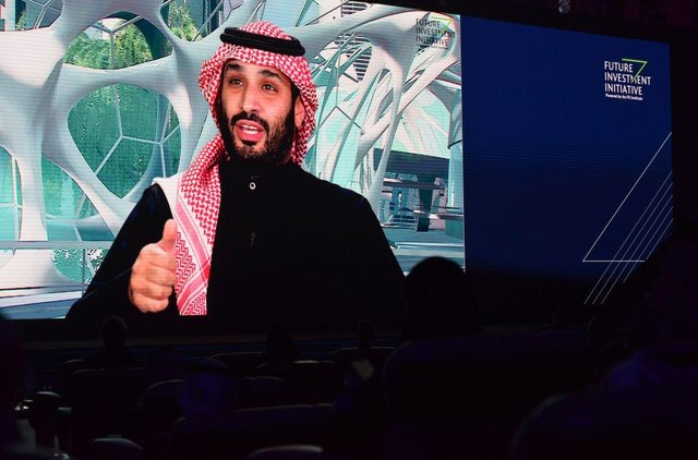 Saudi Crown Prince Mohammed bin Salman speaks during the Future Investment Initiative (FII) conference in a virtual session in the capital Riyadh, on January 28, 2021. - Salman said today that the kingdom will sell more shares of energy giant Aramco in the coming years, following the world's biggest public listing in 2019. (Photo by Fayez Nureldine / AFP) (Photo by FAYEZ NURELDINE/AFP via Getty Images)