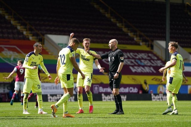 Newcastle United were controversially denied a penalty against Burnley following James Tarkowski's high boot on Sean Longstaff.  (Photo by JON SUPER/POOL/AFP via Getty Images)