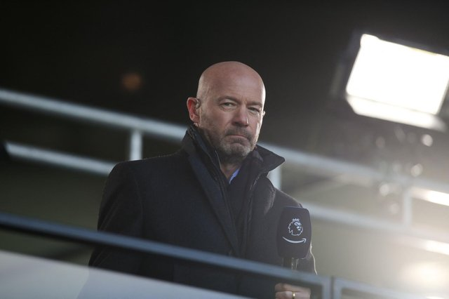 Football pundit and former England player Alan Shearer is seen during the English Premier League football match between Leeds United and Sheffield United at Elland Road.