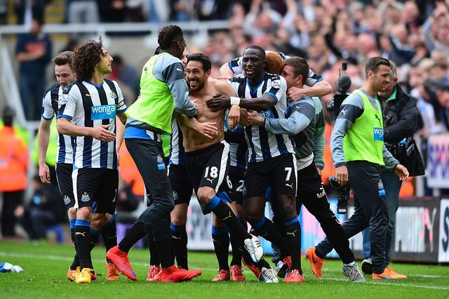 Jonas Gutierrez celebrates his goal which kept Newcastle United in the Premier League on the final day of the 2014/15 season. (Photo by Mark Runnacles/Getty Images)
