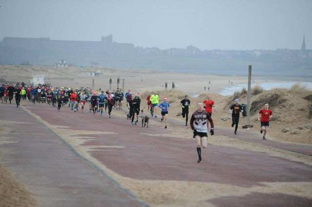 The start of a previous South Shields parkrun.