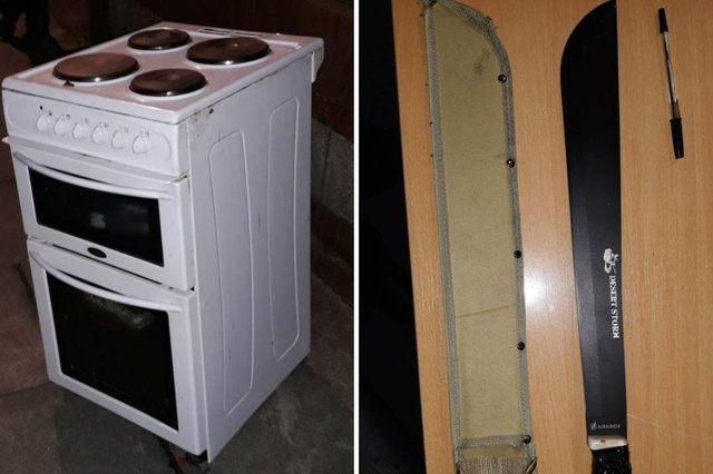 The cooker and machete found by police