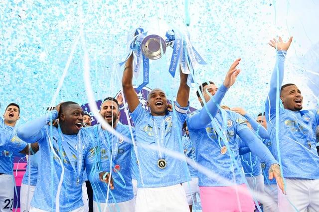 Fernandinho of Manchester City lifts the Premier League Trophy. (Photo by Michael Regan/Getty Images)