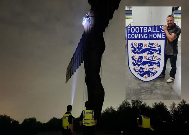 The Angel of the North was briefly seen wearing an England badge ahead of the Euro 2020 final - before police intervened.