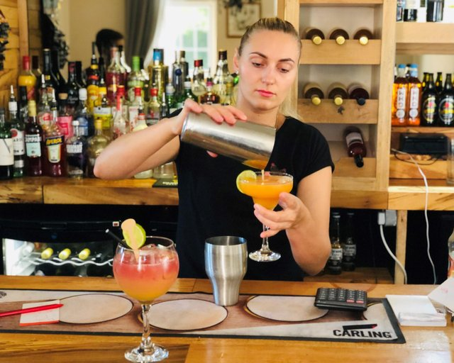 Picture shows Rofida Morozaite of Caesar's Den with some of the restaurant's tasty mocktails