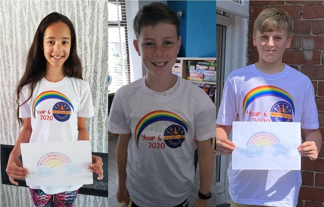 Harton Primary School Year Six pupils (left-right) Ruby Denholm, Reece Kimber and Daniel Allen with their rainbows.