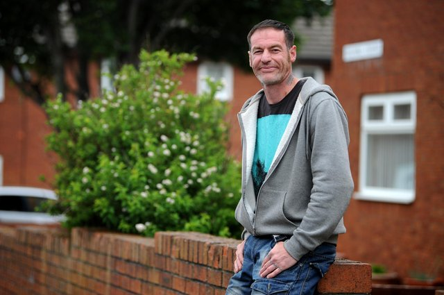 Armed Forces veteran Mark Campbell outside of his new home in South Shields.
