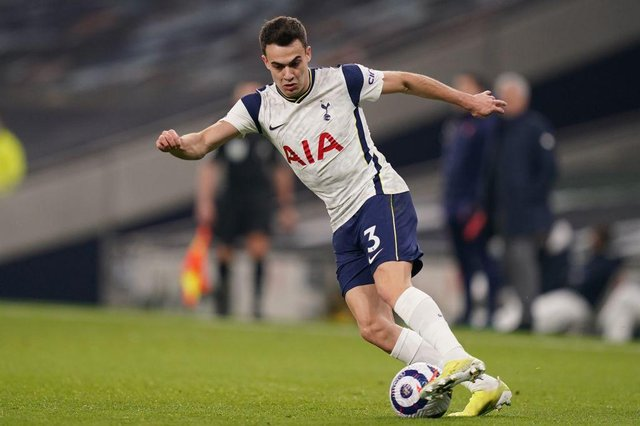 Tottenham Hotspur left-back Sergio Reguilon is facing a race against time to be fit for this weekend's trip to Newcastle United. (Photo by JOHN WALTON/POOL/AFP via Getty Images)