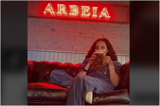 Jade Thirlwall enjoying a drink in her South Shields bar Arbeia.