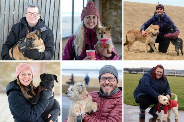 Happy people and happy dogs at South Shields seafront