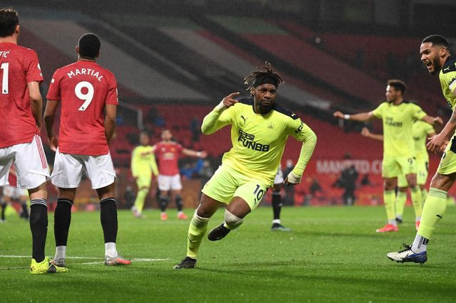 Allan Saint-Maximin of Newcastle celebrates his goal during the Premier League match between Manchester United and Newcastle United at Old Trafford on February 21, 2021 in Manchester, England.