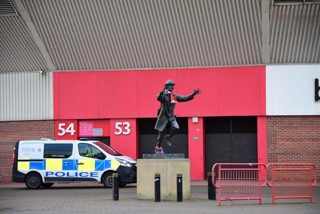 Police outside the Stadium of Light after Sunderland won the Papa John's Trophy