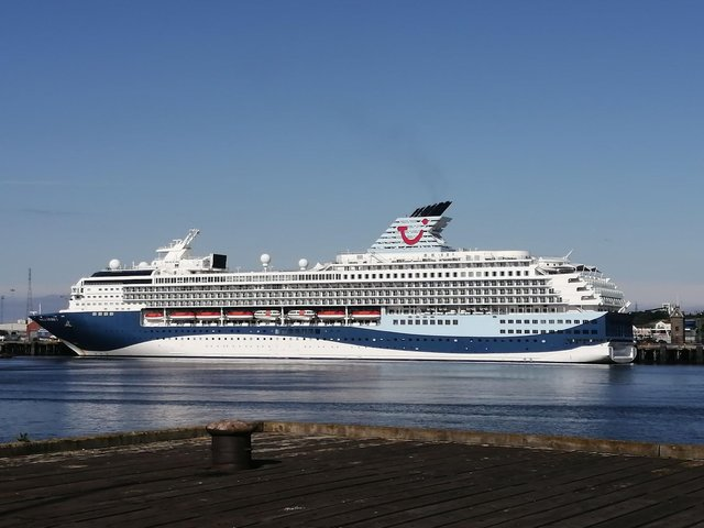 The TUI Marella Explorer 2 cruise ship at the Port of Tyne can be seen from South Shields riverside.