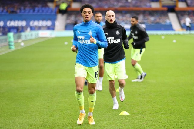 Jamal Lewis of Newcastle United warms up prior to the Premier League match between Everton and Newcastle United at Goodison Park on January 30, 2021 in Liverpool, England.