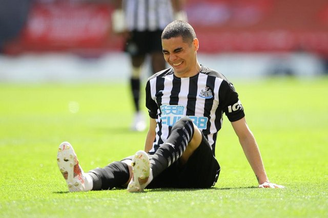 Miguel Almiron of Newcastle United reacts during the Premier League match between Liverpool and Newcastle United at Anfield on April 24, 2021 in Liverpool, England.