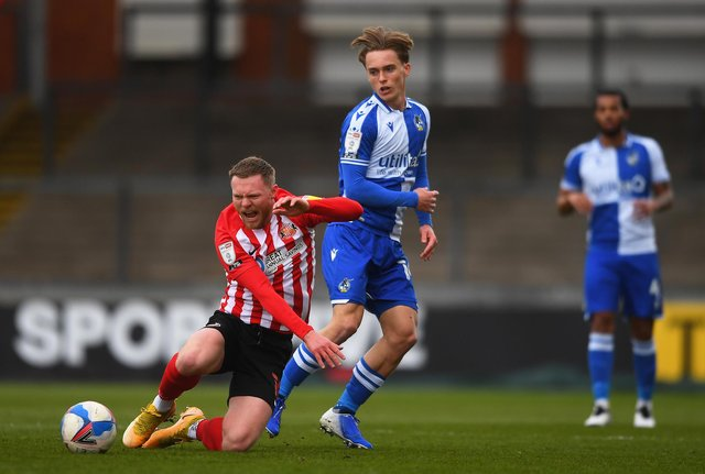 Aiden O'Brien of Sunderland is fouled by Luke McCormick of Bristol Rovers during the Sky Bet League One match.