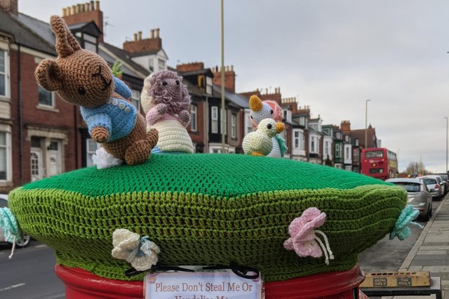 The knitted Beatrix Potter scene, which has appeared on a postbox in South Shields