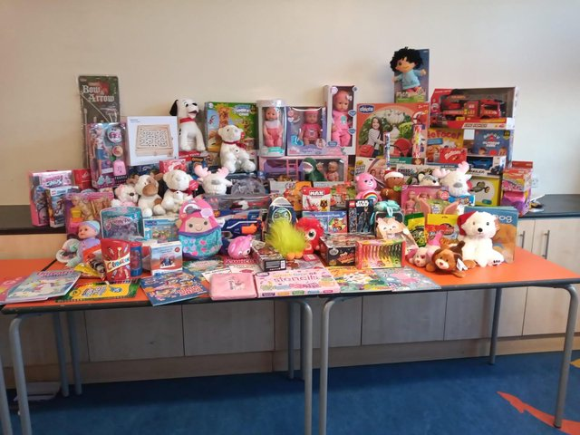 Some of the eggs and toys delivered to children in hospital