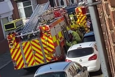 Fire crews on the scene of the house fire in Pembroke Terrace, South Shields. Picture via Lisa Higginson.