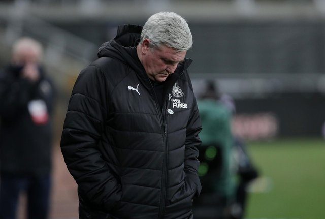 Steve Bruce, manager of Newcastle United, looks on prior to the Premier League match between Newcastle United and Wolverhampton Wanderers at St. James Park on February 27, 2021.