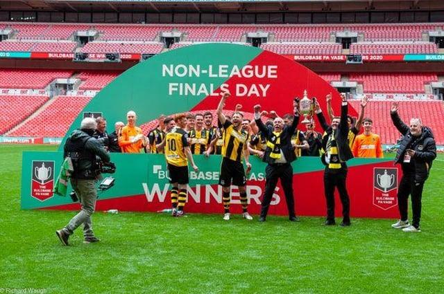 Hebburn players celebrate at Wembley.