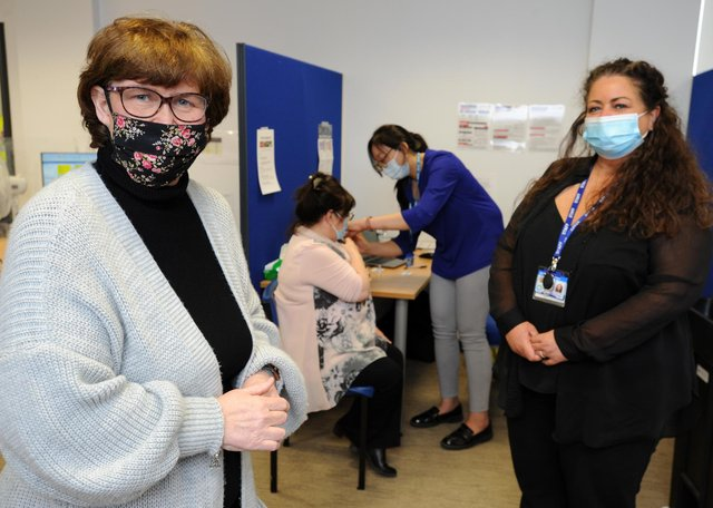 South Tyneside Council Leader Cllr Tracey Dixon visits the Covid-19 Vaccination Hub at Cleadon Park Primary Care Centre, South Shields, with site co-ordinator Michelle Rodgers.