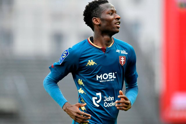 Metz's Senegalese midfielder Pape Matar Sarr celebrates after scoring during the French L1 football match between Brest and Metz at the Francis Le Ble stadium on January 31, 2021 in Brest, Western France. (Photo by Fred TANNEAU / AFP) (Photo by FRED TANNEAU/AFP via Getty Images)