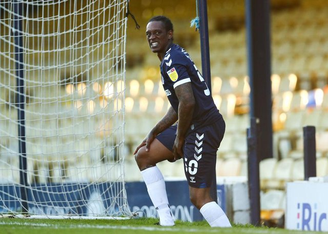Nile Ranger of Southend United reacts to getting an injury during the Sky Bet League Two match between Southend United and Salford City.