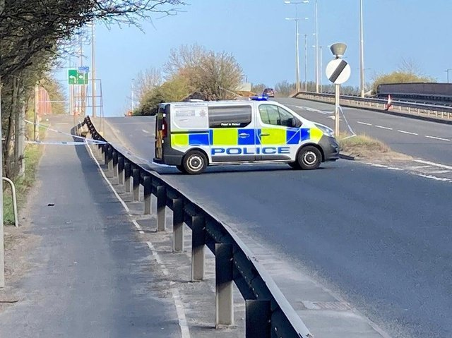 Police at the slip road from the A184 to the A194 Leam Lane at Whitemare Pool roundabout on Good Friday, April 2.