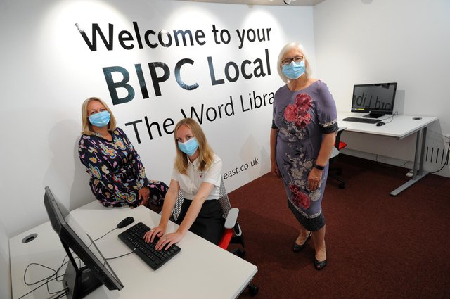 South Tyneside Council deputy leader Cllr Joan Atkinson with Julie Skevington and Shona Peterson, in the new BIPC North East business support space at The Word, South Shields.
