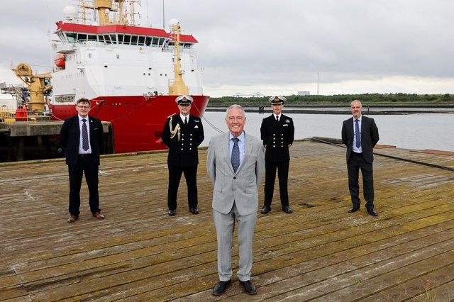 Pictured L-R: Stephen Lee (UK Docks), Commodore Phillip Waterhouse, Harry Wilson (UK Docks), Commanding Officer Captain Michael Wood MBE and Jonathan Wilson (UK Docks).  Today, Tuesday 13th July 2021, HMS Protector hosted local dignitaries whilst under pre-Antarctic maintenance. The Ice Breaker was visited by Commodore Waterhouse the Naval regional Commander, Local MP Jacob Young, Tees Valley Mayor Ben Houchen, The Lord Lieutenant of North Yorkshire Mrs Jo Ropner, Members of Middlesbrough Council and police Force and Members of UK Docks.
