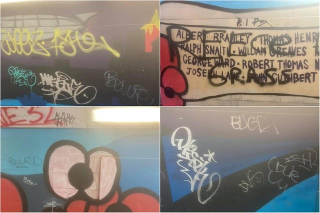 The mural was vandalised with graffiti