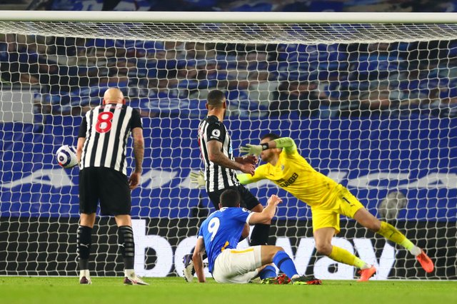 Neal Maupay of Brighton & Hove Albion scores their team's third goal during the Premier League match between Brighton & Hove Albion and Newcastle United.