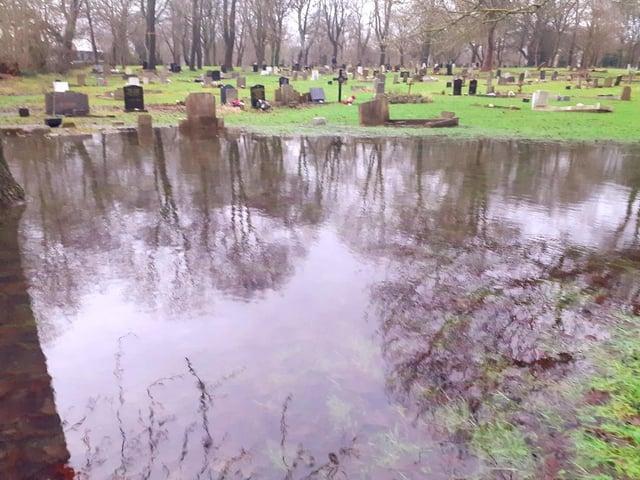 The flooding in Jarrow Cemetery last winter