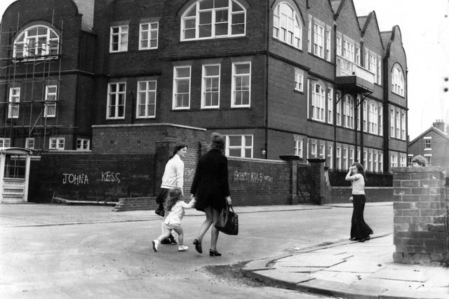 It's important to get to class on time. That's what these children were trying to do at South Westoe School in 1973.