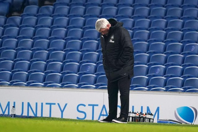 Steve Bruce, Manager of Newcastle United looks dejected during the Premier League match between Brighton & Hove Albion and Newcastle United at American Express Community Stadium on March 20, 2021 in Brighton, England.