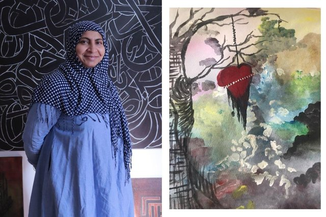 Roohia Syed-Ahmed with some of her work (left) and (right) artwork produced by Parvin Abdur for the Srijoni project