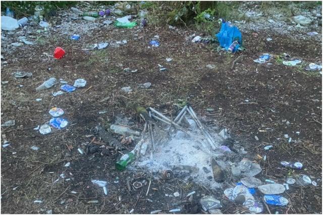 Bottles and cans dumped in Hebburn Riverside Park earlier in April.