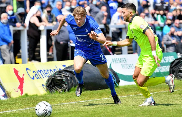 Lewis Cass in action for Hartlepool United against Weymouth. Picture by FRANK REID